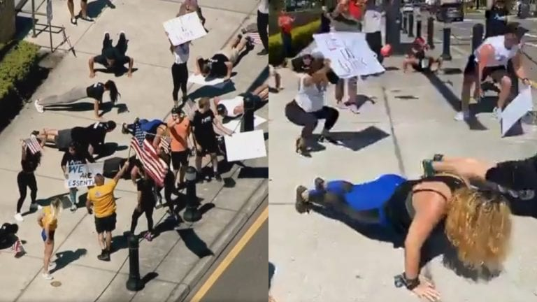 Protests In Florida: Protesters Exercise Near To The Courthouse Asking To Reopen Gyms